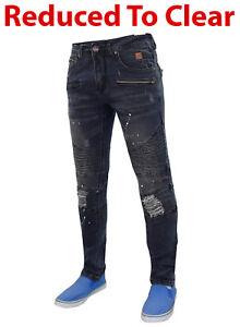 Para-Hombre-Vaqueros-Slim-Fit-Stretch-Denim-Rasgado-PINTURA-SPLATTER-Bikers-Casual-Pantalones