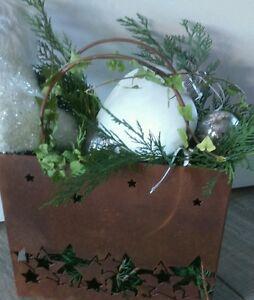 Edelrost-Pflanztasche-Metall-Rost-Tasche-Pflanzgefaess-Garten-Sterne-Christmas