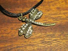 Dragon fly necklace on nylon rope chain
