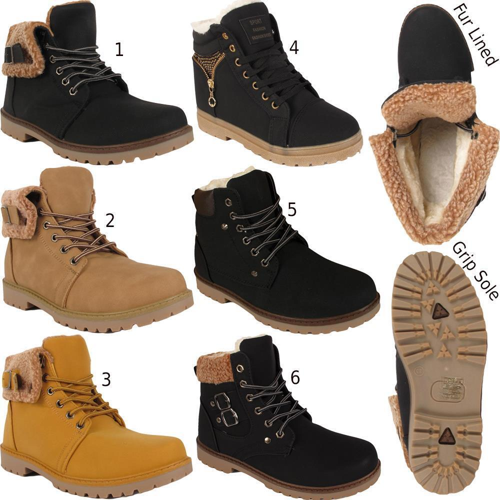 Womens Warm Winter Snow Ankle Lace Up Fur Lined Army Grip Sole Ankle Boots Shoes