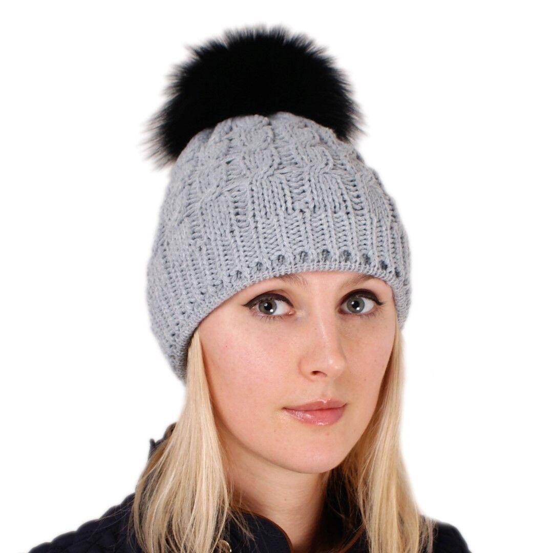 Aschgrau Wollmütze mit schwarz Pompon aus Fuchs Pelz Skimütze Beanie Fell Bommel | Günstige Preise  | Vorzügliche Verarbeitung  | Viele Sorten