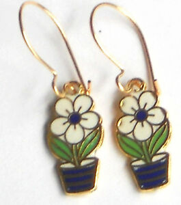 #1284 Vintage Earrings Guilloche Enamel Floral Gold Plated Flower Basket Dangle