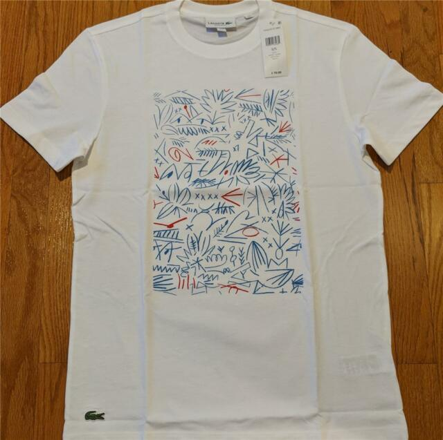 5b1e3c1d Mens Authentic Lacoste Graphic Animation Printed T-shirt White 3 Small