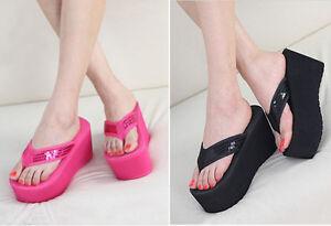 New Women's Shoes Sandals Flip Flops sandbeach High Wedge ...