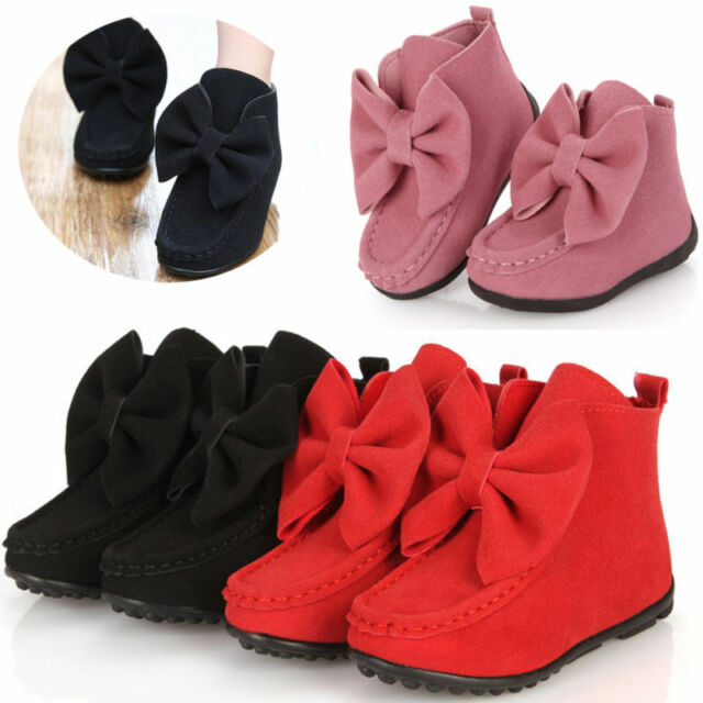 Kids Baby Girls Cute Bowknot Suede Flat Ankle Boots Warm Boots Shoes EUR21-36