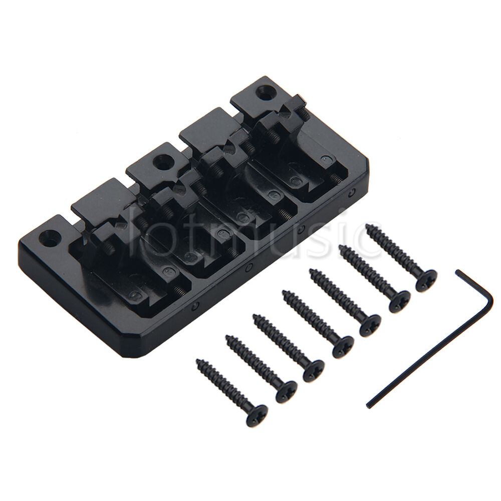 set vintage black plated 4 string bass guitar bridge parts 20mm string spacing ebay. Black Bedroom Furniture Sets. Home Design Ideas
