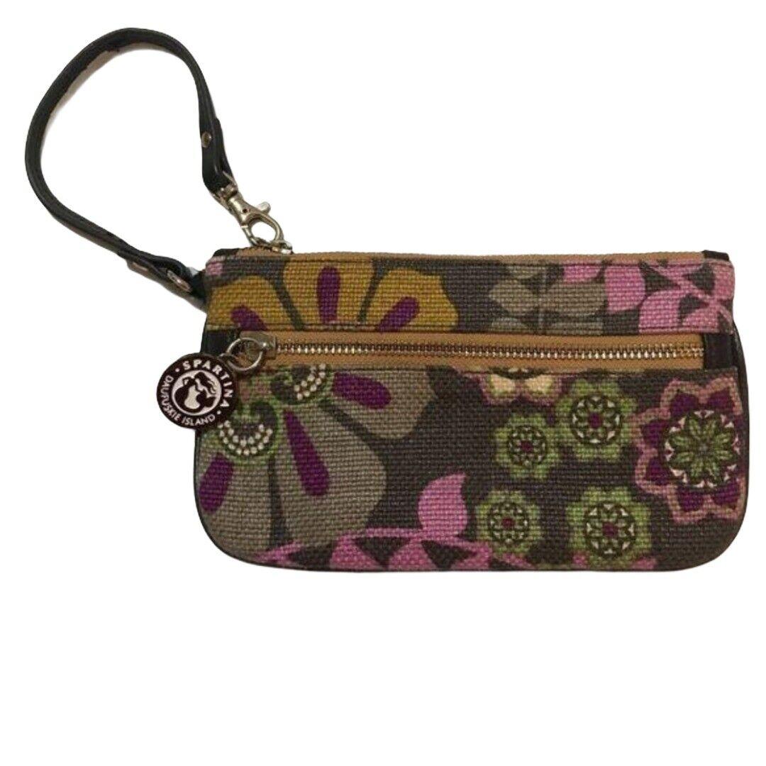 Spartina brown floral fall wristlet purse