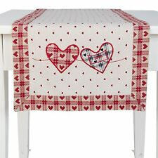 Tischläufer Clayre /& Eef MY LOVELY HOME Herz Spruch Tischdecke 50x140cm MLH64R