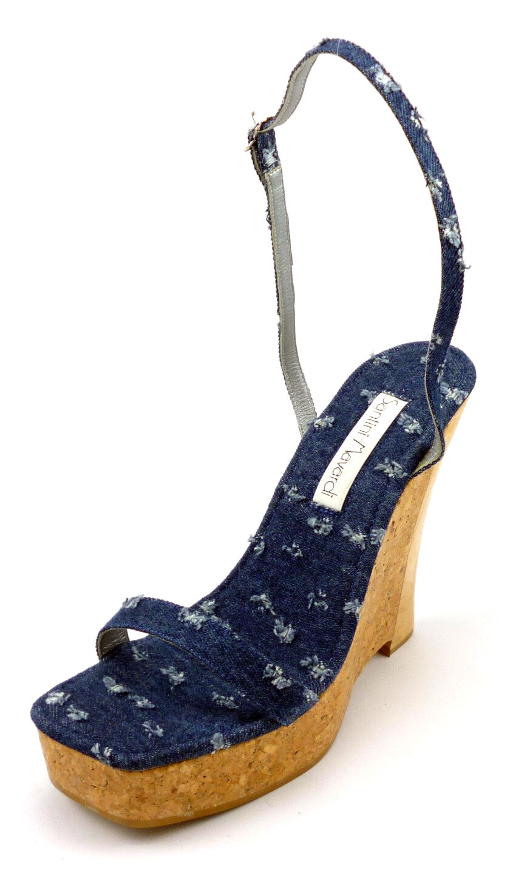 compra meglio Santini Mavardi Mavardi Mavardi New Donna  Dimensione 36, 6 US Denim & Cork Platform Sandals blu  consegna rapida