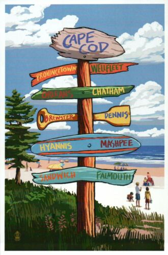 Cape Cod Massachusetts Destination Signpost Beach Hyannis etc Modern Postcard