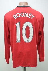 Manchester United 2009/2010 Calcio Casa Maglietta Nike Rooney Taglia M manica lunga