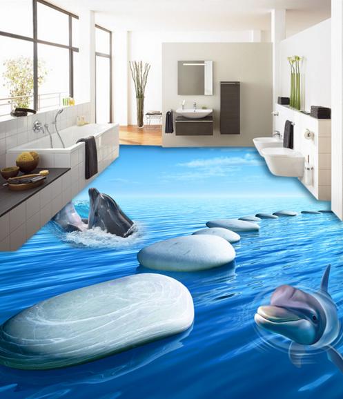 3D Dolphin Stone River 7 Floor WallPaper Murals Wall Print Decal 5D AU Lemon