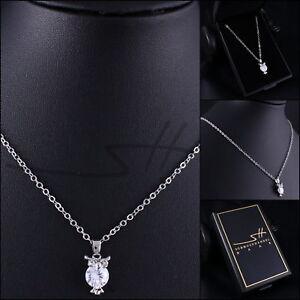 Suesse-Kette-Halskette-Silber-Eule-Weissgold-pl-Swarovski-Elements-inkl-Etui