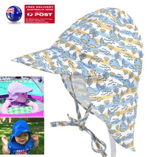 Kid Baby Boy Girl Outdoor neck cover Sun protect camp Beach swim Cap Hat 0-10yrs