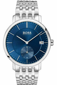 HUGO-BOSS-Men-039-s-Corporal-Blue-Dial-Stainless-Steel-Bracelet-Quartz-Watch-1513642