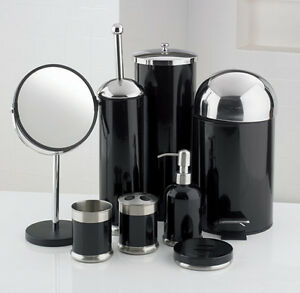 Image Is Loading 8 Piece Bathroom Accessories Set Black