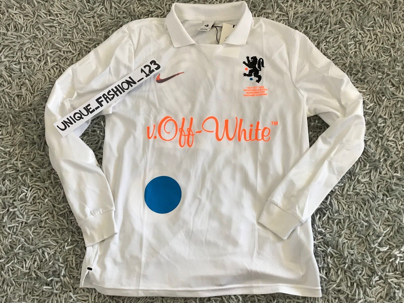 NIKE LAB X OFF WHITE FOOTBALL HOME JERSEY SHIRT S WHITE MON AMOUR SMALL BLAC