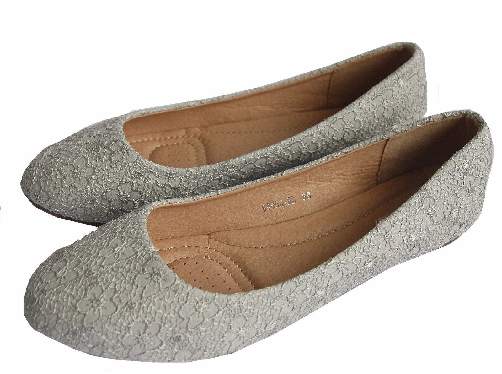 BALLERINA BRAUT Zapatos   Zapatos AUS SPITZE SEHR EDEL HELL GRAU B 985H-BL ec3861