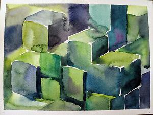 12x9 Original Watercolor Abstract