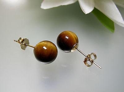 Round Semi Precious Stone Studs Brown Gemstone Small Circle Earrings Tigereye Ball Stud Earrings 14K Yellow Gold Tigers Eye Stud Earrings