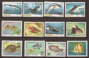 68T3-VIETNAM-12-francobolli-usati-Pesce-mari
