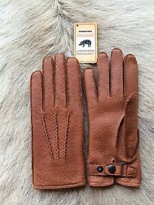 Peccary Leather Gloves Black brown cognac Winter Gloves Hand sewing cashmere