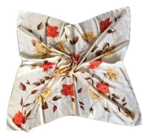 Grande 90cm Vintage Elegante Donna Seta Quadrato Testa Sciarpa Vari Stili
