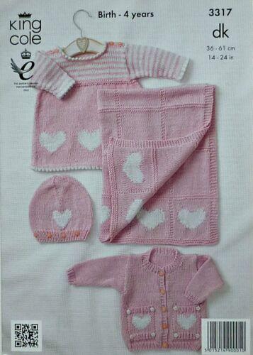 KNITTING PATTERN Baby Hearts Layette Set /& Blanket DK King Cole 3317