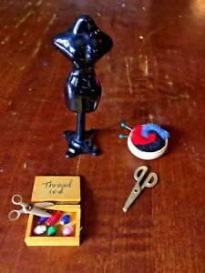 Details about Vintage Dollhouse Black Dress Form Stand Thread Box Yarn  Scissors Doll Stands