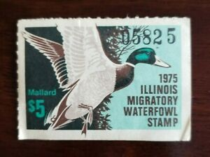 1975-Illinois-State-Migratory-Waterfowl-Duck-Stamp-1-5-Mallard-Used