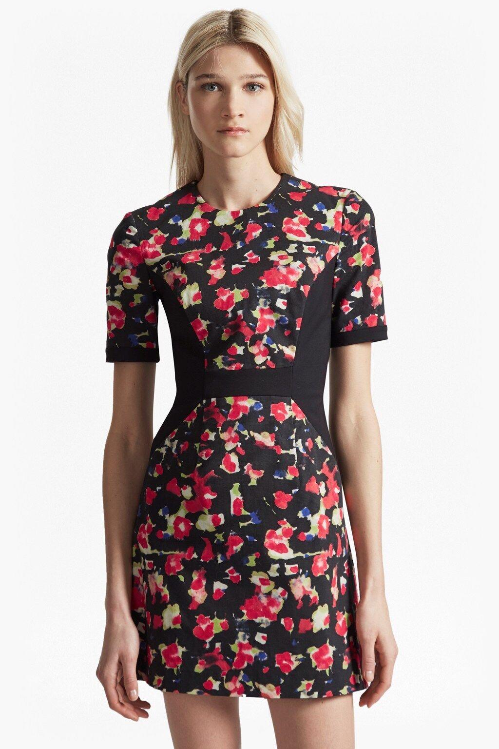 New French Connection Bella Ottoman schwarz rot Floral Mini Dress Sz UK 10