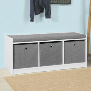 Cool Details About Sobuy Hallway Entrance 3 Baskets Storage Bench With Padded Seat Fsr65 Dg Uk Camellatalisay Diy Chair Ideas Camellatalisaycom