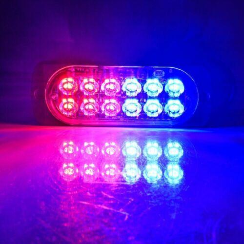6x Red Blue 12 LED Strobe Light Bar Truck Hazard Beacon Flash Warning Emergency