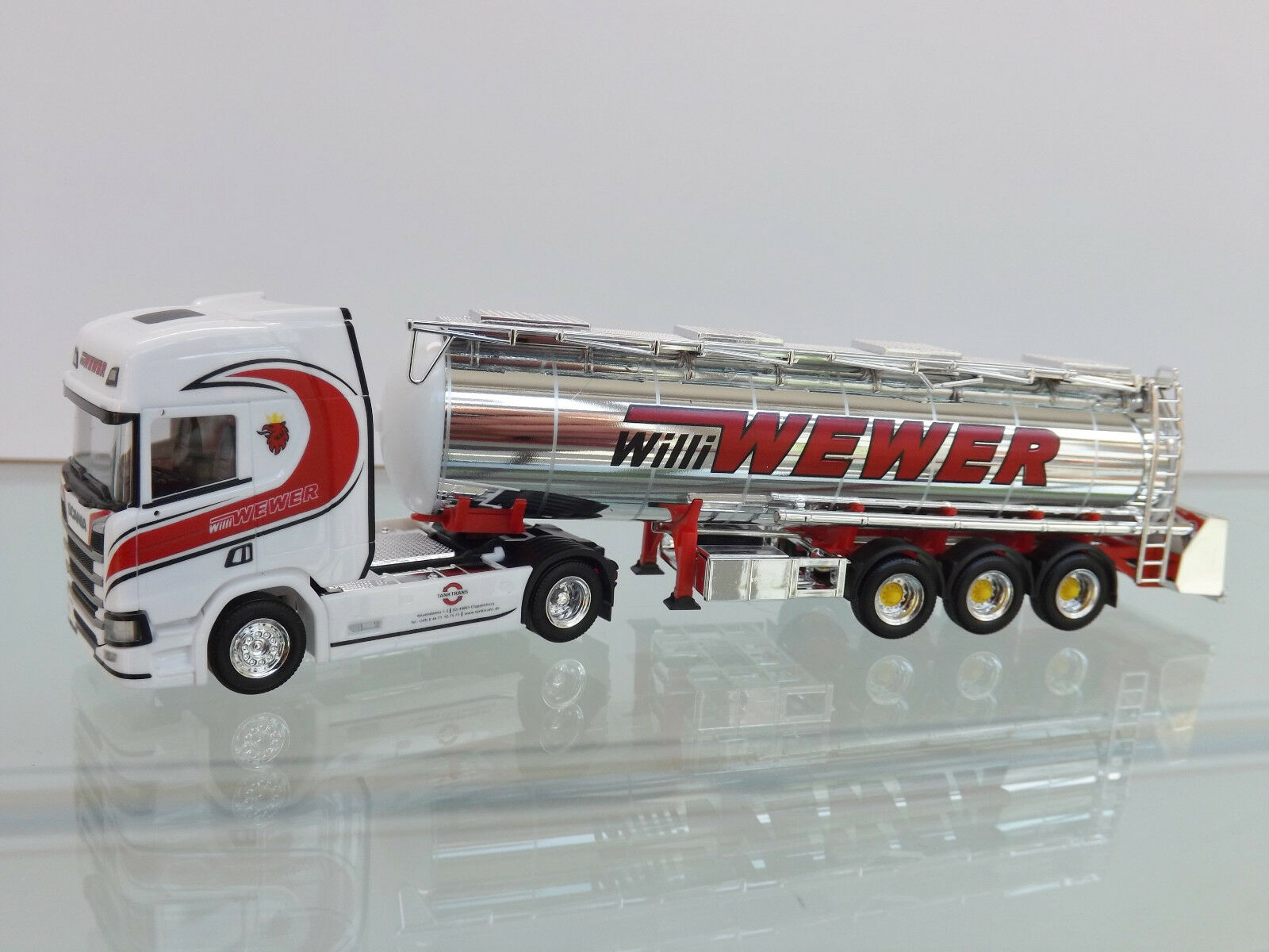 Herpa 308427 - H0 1 87 - Scania Cr HD Chromtank-Sz   Willi Wewer   - Nuovo in
