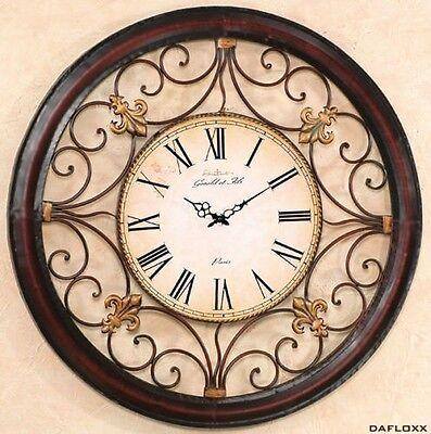 Riesige Wanduhr In Braun Modell Paris 92cm Aus Eisen Uhr Frankreich Rom Neu GläNzend