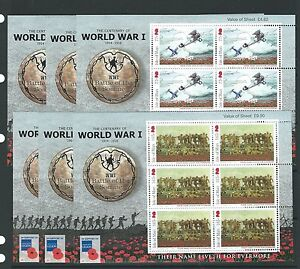 ISLE OF MAN 2016 BATTLE OF THE SOMME SET OF 6 IN SHEETLETS UNMOUNTED MINT, MNH