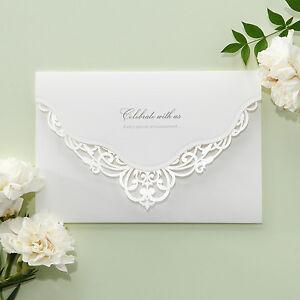 white victorian lace wedding invitations elegant laser cut