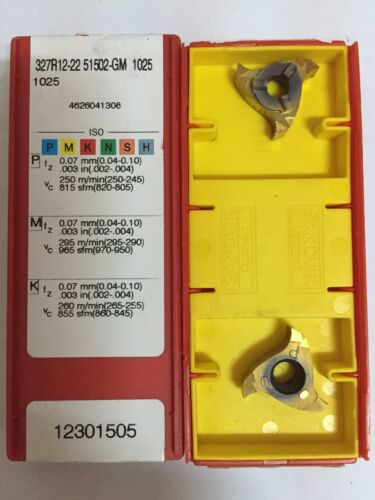 327 R12-22 51502 GM1025 SANDVIK Carbide Inserts Pack of 2