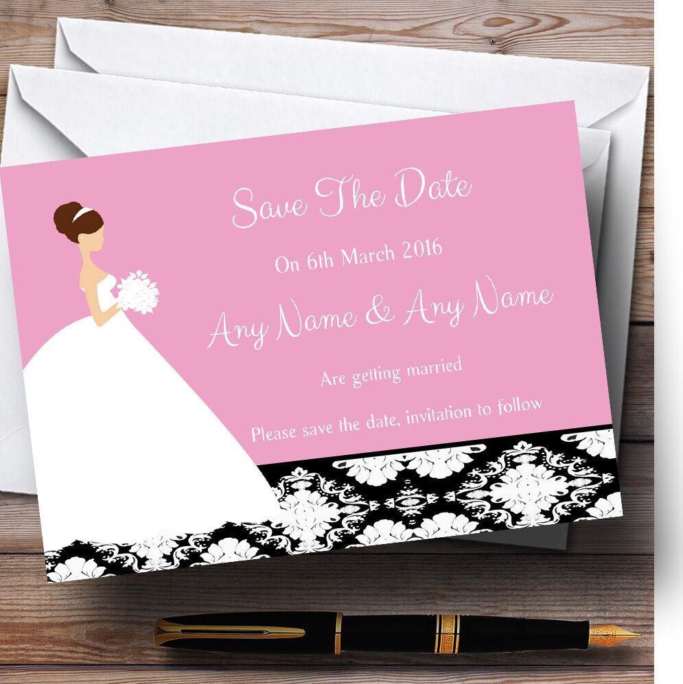 Rose the Noir Damassé mariée mariage Personnalisé Cartes save the Rose date b52c2b