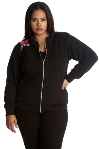 New Womens Plus Size Bomber Jacket Ladies Embroderied Floral Polka Dot Sale