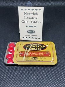 Vintage Medicine Tin:  Norwich Laxative Cold Tablets, Full tin, leaflet