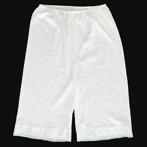 Vintage Women's Granny Panties Pettipants Knickers Bloomers White Nylon XL