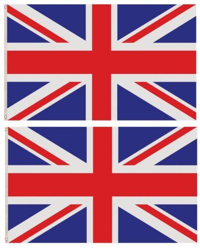 Tri coiour Union Jack Fête Décoration Drapeau F77 001 2x Royaume-Uni 5 FT environ 0.91 m x 3 ft environ 1.52 m