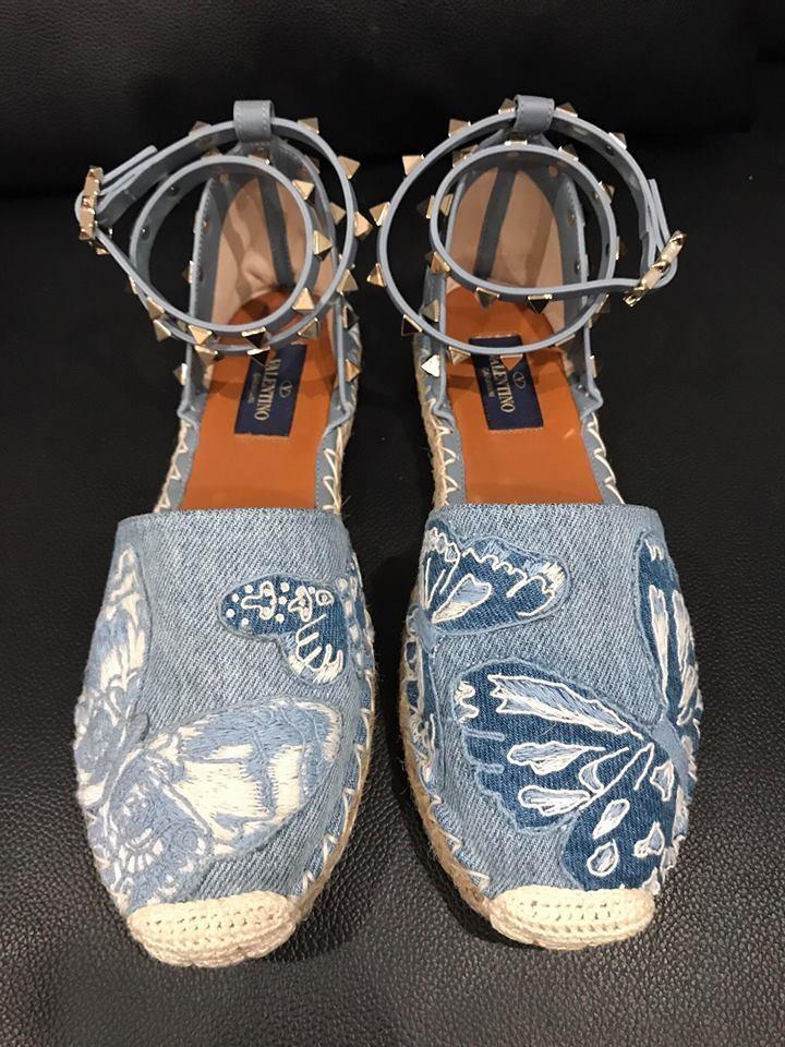 NIB Valentino Rockstud Blue Butterfly Denim Ankle Wrap Espadrille Flat 40 5