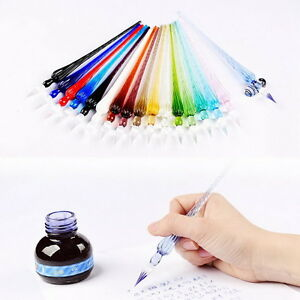Vintage-Style-Handmade-Glass-Pen-Christmas-Gifts-X-039-mas-Signature-Pen-Ink-Dip-Pen
