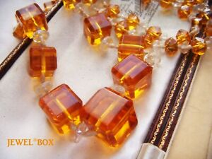 ANTIQUE-ART-DECO-AMBER-GRAD-CUBE-CRYSTAL-KNOTTED-BEADS-FLAPPER-VINTAGE-NECKLACE