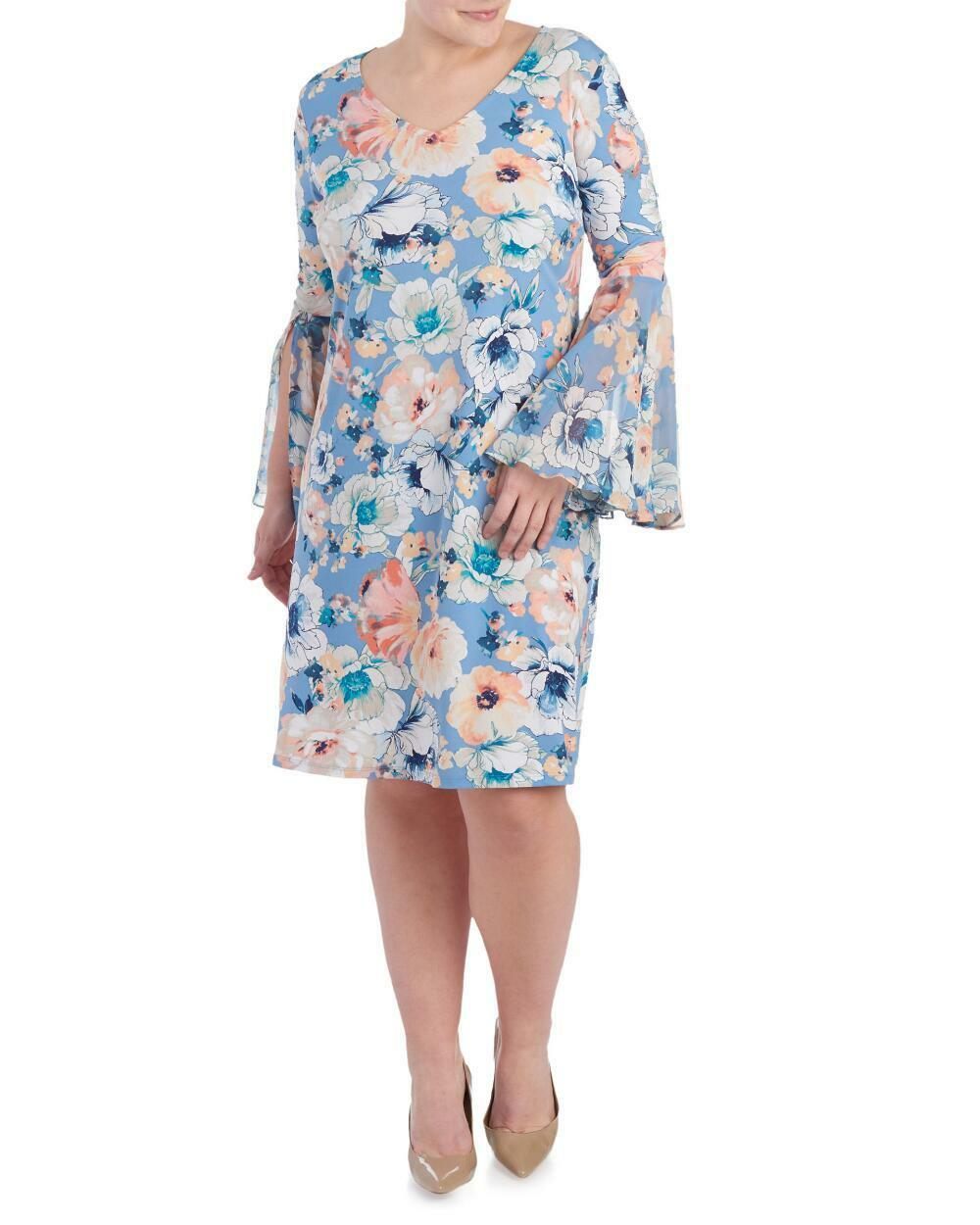 MSK  - Womens 1X - NWT  88 - Pastel Garden Floral Bell Sleeve Stretch Knit Dress