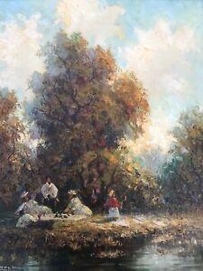 Vintage-impressionischtes-Bild-034-Picknick-im-Seepark-034-von-Ludwig-Sohler-Muenchen