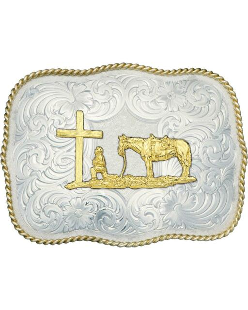 3611-731M Montana Silversmiths Mens Cowboy And Crosses Buckle