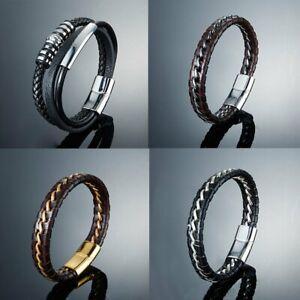 Mens-Boys-Handmade-Leather-Braided-Surfer-Wristband-Bracelet-Bangle-Wrap-Fashion